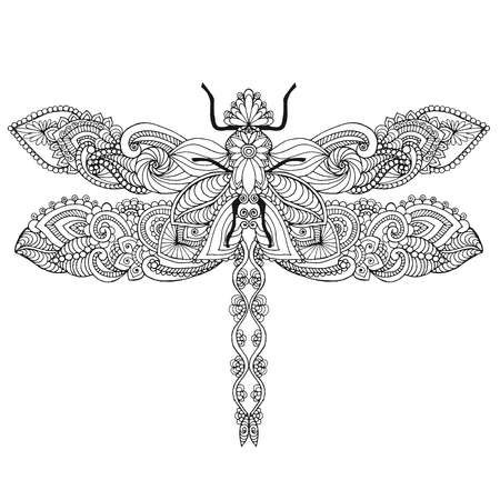 dragonflies: Ethnic patterned vector illustration. African, indian, totem, tribal, zentangle design. Sketch for adult coloring page, tattoo, posters, print or t-shirt.