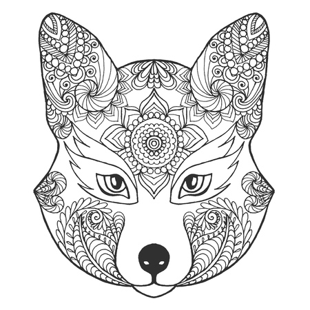 Fox Head Black White Hand Drawn Doodle Animal Ethnic Patterned Vector Illustration African