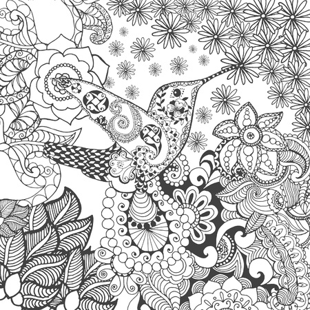 coloring pages to print hummingbird in flowers animals hand drawn doodle ethnic