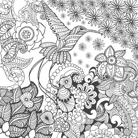 Oiseau de paradis dans le fantasme jardin. Animaux. Tiré par la main doodle. Ethnique illustration à motifs. Africaine, indien, conception de tatoo totem. Dessinez pour avatar, tatouage, affiche, impression ou t-shirt.