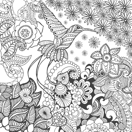 Vogel van het paradijs in de fantasie tuin. Dieren. Hand getrokken doodle. Etnische patroon illustratie. Afrikaanse, indisch, totem tatoo design. Schets voor avatar, tattoo, poster, print of t-shirt.