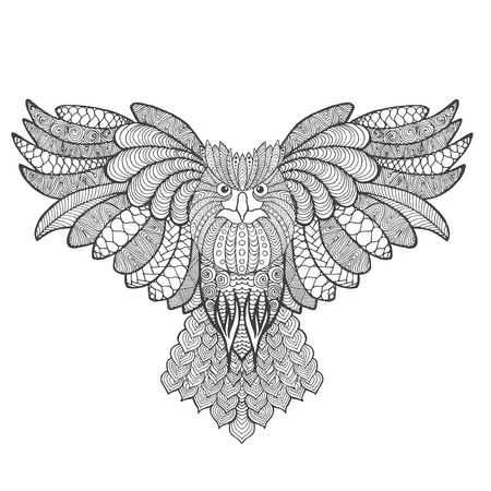 eagle owl: Eagle owl. Adult antistress coloring page. Black white hand drawn doodle animal. Ethnic patterned vector. African, indian, totem tribal, zentangle design. Sketch for tattoo, poster, print, t-shirt