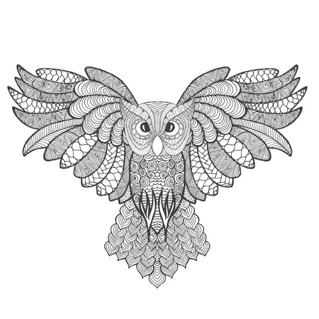 totem indien: Hibou grand-duc. Adulte coloriages antistress. main blanche noire dessin�e animale doodle. Ethnique vecteur � motifs. Africaine, indien tribal, conception zentangle, totem. Croquis pour le tatouage, affiche, impression, t-shirt
