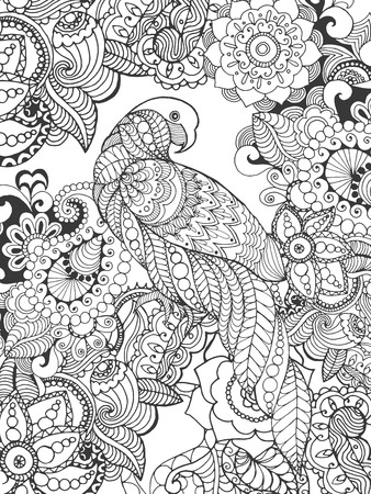 branch cut: Parrot in fantasy flowers. Animals. Hand drawn doodle. Ethnic patterned illustration. African, indian, totem tatoo design. Sketch for avatar, tattoo, poster, print or t-shirt.