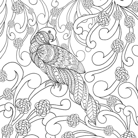 flower head: Parrot in flowers. Animals. Hand drawn doodle. Ethnic patterned illustration. African, indian, totem tatoo design. Sketch for avatar, tattoo, poster, print or t-shirt.