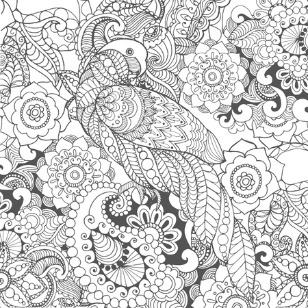 white flowers: Parrot in fantasy flowers. Animals. Hand drawn doodle. Ethnic patterned illustration. African, indian, totem tatoo design. Sketch for avatar, tattoo, poster, print or t-shirt.