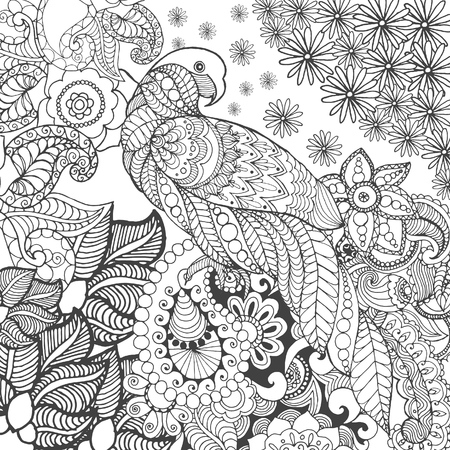 black branch: Cute parrot in fantasy flowers. Animals. Hand drawn doodle. Ethnic patterned illustration. African, indian, totem tatoo design. Sketch for avatar, tattoo, poster, print or t-shirt. Illustration