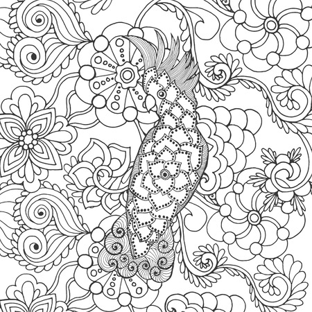 cockatoo: Cute cockatoo in fantasy flowers. Animals. Hand drawn doodle. Ethnic patterned illustration. African, indian, totem tatoo design. Sketch for avatar, tattoo, poster, print or t-shirt. Illustration