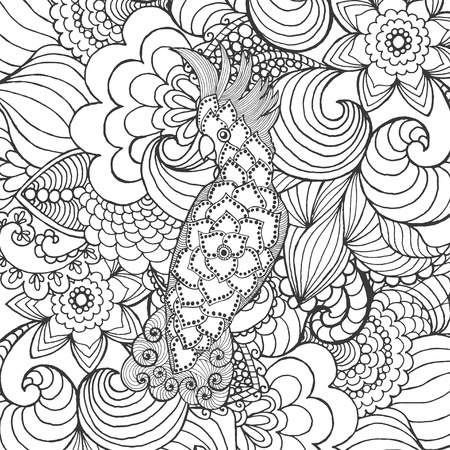 cockatoo: Cute cockatoo in fantasy garden. Animals. Hand drawn doodle. Ethnic patterned illustration. African, indian, totem tatoo design. Sketch for avatar, tattoo, poster, print or t-shirt.