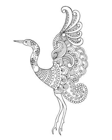 Beautifull vogel. Zwart wit hand getrokken doodle dier. Etnische patroon vector illustratie. Afrikaanse, indisch, totem, tribal design. Schets voor kleurplaat, tattoo, poster, print, t-shirt Stockfoto - 57054599