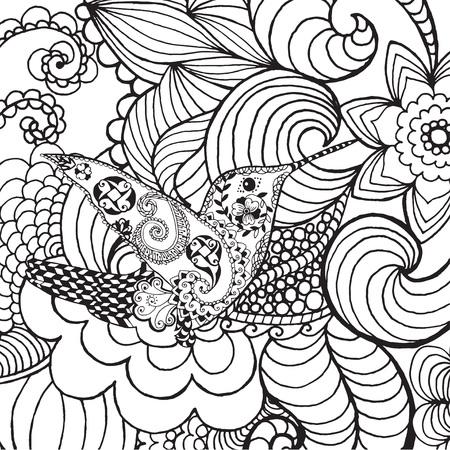 flor caricatura: Colibrí en el jardín de la fantasía. Animales. Dibujado a mano del doodle. ilustración patrón étnico. Africano,, diseño tatoo tótem indio. Boceto de avatar, tatuaje, cartel, impresión o una camiseta.