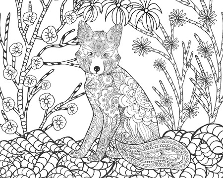 forest animals: Fox in fantasy forest. Animals. Hand drawn doodle. Ethnic patterned illustration. African, indian, totem tatoo design. Sketch for avatar, tattoo, poster, print or t-shirt.