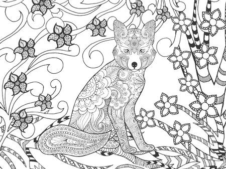 animales del bosque: Fox en el bosque de fantasía. Animales. Dibujado a mano del doodle. ilustración patrón étnico. Africano,, diseño tatoo tótem indio. Boceto de avatar, tatuaje, cartel, impresión o una camiseta. Foto de archivo