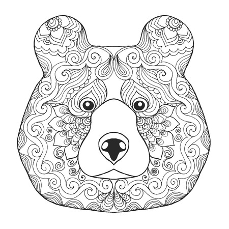 Bear head. Animals. Hand drawn doodle. Ethnic patterned illustration. African, indian, totem tatoo design. Sketch for avatar, tattoo, poster, print or t-shirt.