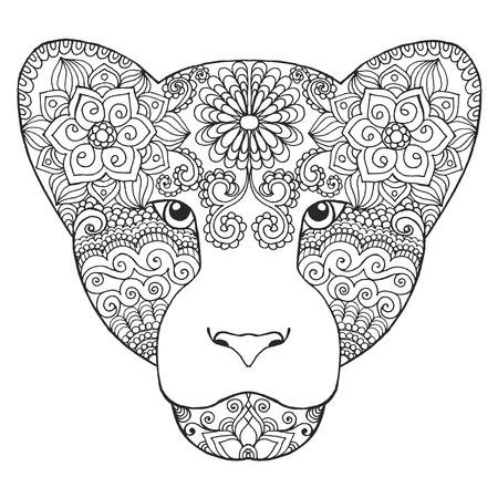 main blanche noire dessinée animale doodle. Ethnique motifs illustration vectorielle. Africaine, indien, totem, tribal, conception zentangle. Dessinez pour coloriage, tatouage, affiche, impression, t-shirt