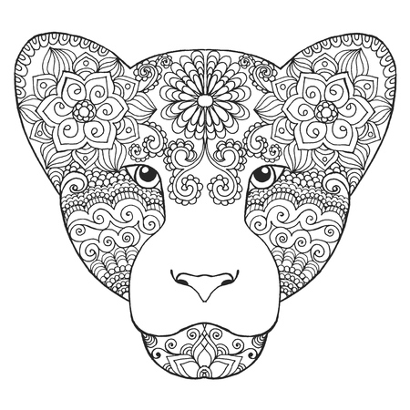 Black white hand drawn doodle animal. Ethnic patterned vector illustration. African, indian, totem, tribal, zentangle design. Sketch for coloring page, tattoo, poster, print, t-shirt