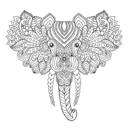siluetas de elefantes: Cabeza de elefante. Colorear antiestrés Adultos. Mano blanco y negro dibujado animales garabato. Vector patrón étnico. África, diseño indio, tótem tribal, zentangle. Boceto para el tatuaje, cartel, impresión, camiseta