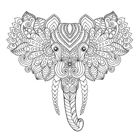 totem indien: Elephant head. Adult antistress coloring page. Black white hand drawn doodle animal. Ethnic patterned vector. African, indian, totem tribal, zentangle design. Sketch for tattoo, poster, print, t-shirt Illustration