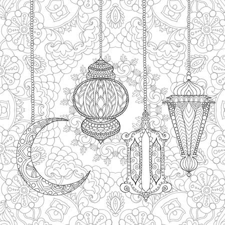 Watercolor Qatar Ramadan Kareem Greeting Design Coloring Page Engraved Vector Illustration Sketch For
