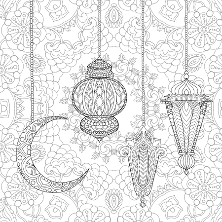 Ramadan Kareem greeting design coloring page. Engraved vector illustration. Sketch for decoration, poster, print, t-shirt.