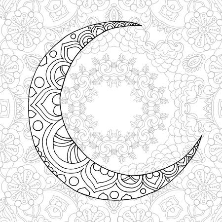 Ramadan Kareem half moon. Greeting design coloring page. Engraved vector illustration. Sketch for decoration, poster, print, t-shirt.