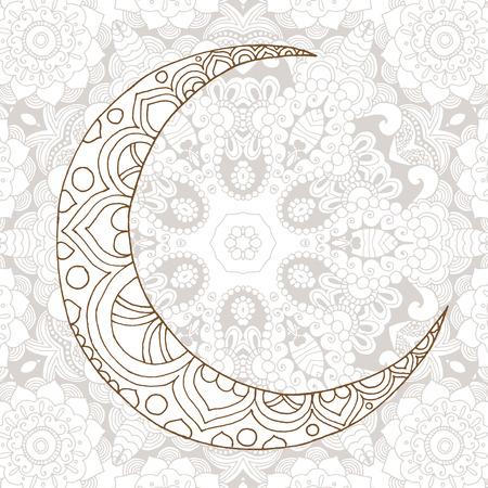 Ramadan Kareem half moon design background. Greeting design coloring page. Engraved vector illustration. Sketch for decoration, poster, print, t-shirt.