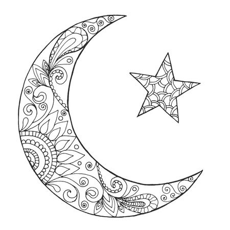 Ramadan Kareem Half Moon Greeting Design Coloring Page Engraved Vector Illustration Sketch For