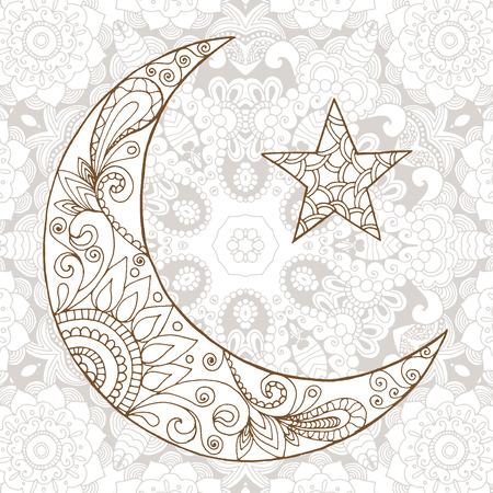 half: Ramadan Kareem half moon design background. Greeting design coloring page. Engraved vector illustration. Sketch for decoration, poster, print, t-shirt.