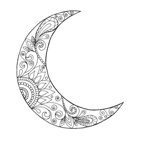 Ramadan Kareem half moon. Greeting design coloring page. Engraved vector illustration. Sketch for decoration, poster, print, t-shirt. Stock Illustratie