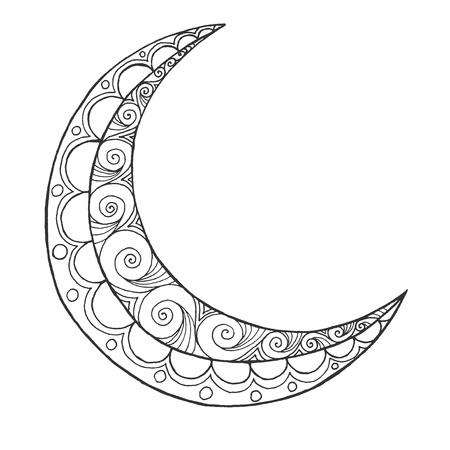 half: Ramadan Kareem half moon. Greeting design coloring page. Engraved vector illustration. Sketch for decoration, poster, print, t-shirt. Illustration