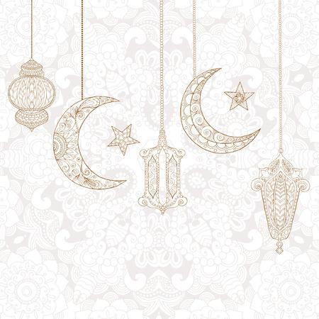 Colorare di auguri Ramadan Kareem. illustrazione vettoriale inciso. Disegnare per la decorazione, manifesto, stampa, t-shirt. Archivio Fotografico - 60125281