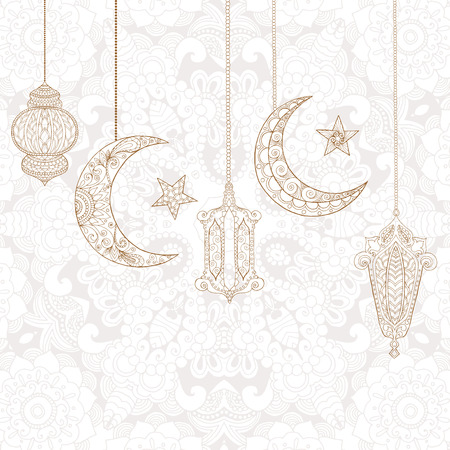Ramadan Kareem groetontwerp kleurplaat. Gegraveerde illustratie. Schets voor decoratie, poster, print, t-shirt. Stock Illustratie