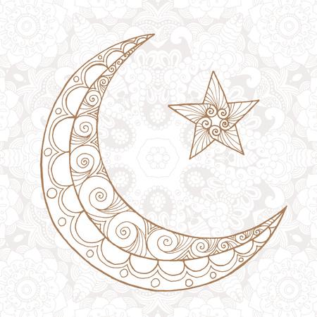 half moon: Ramadan Kareem half moon. Greeting design coloring page. Engraved vector illustration. Sketch for decoration, poster, print, t-shirt. Stock Photo
