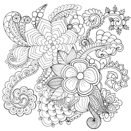 Floral Patterned Vector Illustration African Indian Totem Tribal Zentangle Design Sketch For Colouring Page Tattoo Poster Print T Shirt