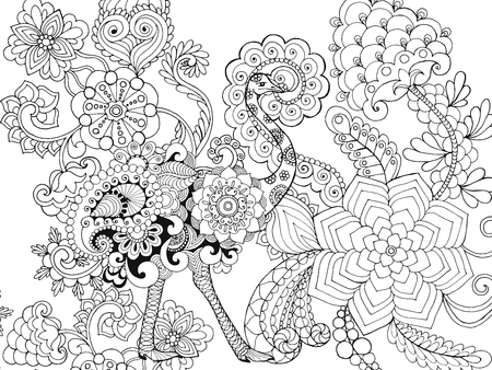 beautifull: Beautifull ostrich in flower garden. Animals. Hand drawn doodle. Ethnic patterned illustration. African, indian, totem tatoo design. Sketch for avatar, tattoo, poster, print or t-shirt.