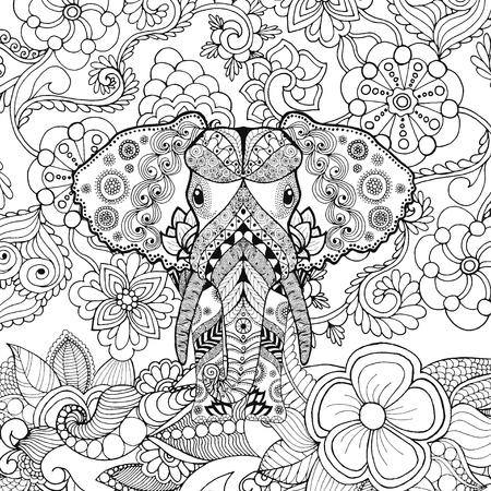 totem indien: éléphant mignon dans le jardin de fleurs. Animaux. Tiré par la main doodle. Ethnique illustration à motifs. Africaine, indien, conception de tatoo totem. Dessinez pour avatar, tatouage, affiche, impression ou t-shirt. Illustration