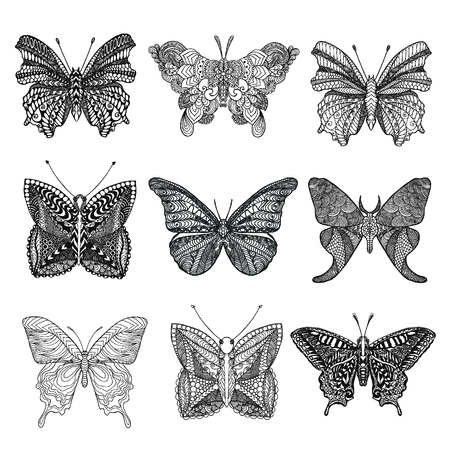 butterflys: Set of beautiful butterflys. Black white hand drawn doodle animal. Ethnic patterned vector illustration. Sketch for coloring page, decoration, tattoo, poster, print, t-shirt