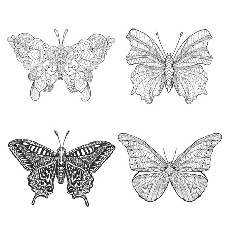 black borders: Set of beautiful butterflys. Black white hand drawn doodle animal. Ethnic patterned vector illustration. Sketch for coloring page, decoration, tattoo, poster, print, t-shirt