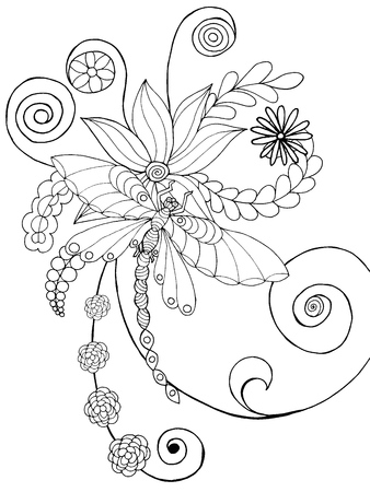 dragonfly wing: Dragonfly in fantasy flowers. Animals. Hand drawn doodle. Ethnic patterned illustration. African, indian, totem tatoo design. Sketch for avatar, tattoo, poster, print or t-shirt.