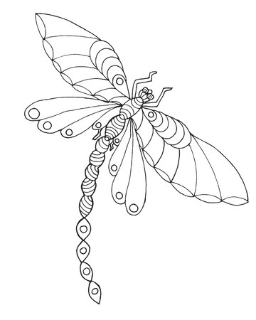 dragonfly wing: Zentangle stylized dragonfly. Ethnic patterned vector illustration. African, indian, totem, tribal, zentangle design. Sketch for adult coloring page, tattoo, posters, print or t-shirt.