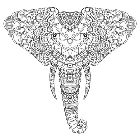 antistress: Elephant head. Adult antistress coloring page. Black white hand drawn doodle animal. Ethnic patterned vector. African, indian, totem tribal,  design. Sketch for tattoo, poster, print, t-shirt