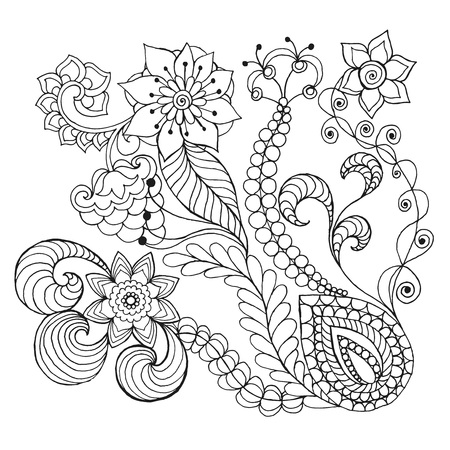 burgeon: Fantasy flowers coloring page. Hand drawn doodle. Floral patterned vector illustration. African, indian, totem, tribal,  design. Sketch for colouring page, tattoo, poster, print, t-shirt