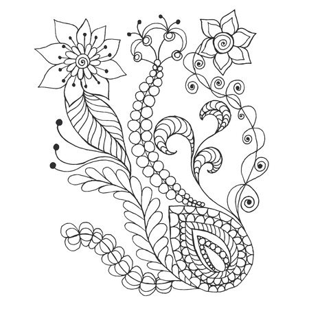 burgeon: Fantasy flowers. Hand drawn doodle. Floral patterned vector illustration. African, indian, totem, tribal,  design. Sketch for colouring page, tattoo, poster, print, t-shirt