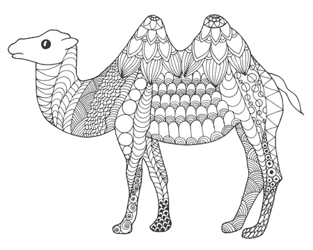 Camel. Black white hand drawn doodle animal. Ethnic patterned vector illustration. African, indian, totem, tribal,  design. Sketch for coloring page, tattoo, poster, print, t-shirt  イラスト・ベクター素材