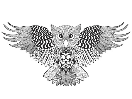 eagle owl: Eagle owl. Adult anti stress coloring page. Illustration