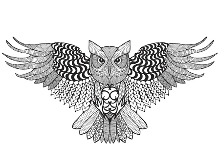 anti stress: Eagle owl. Adult anti stress coloring page. Illustration