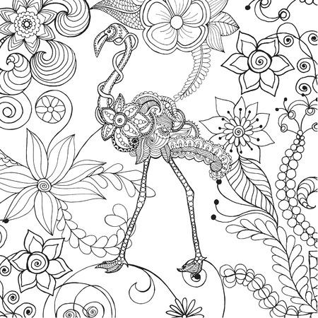 branch cut: Flamingo in fantasy flower garden. Illustration