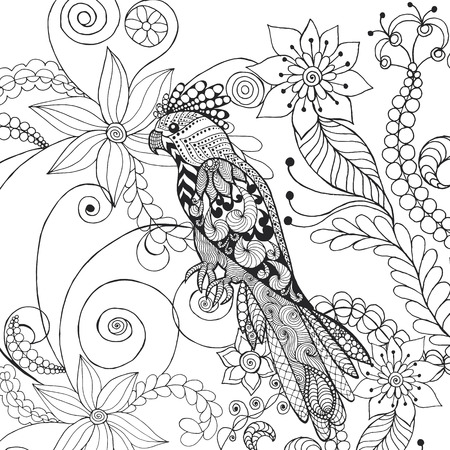 branch cut: Parrot in fantasy flowers.