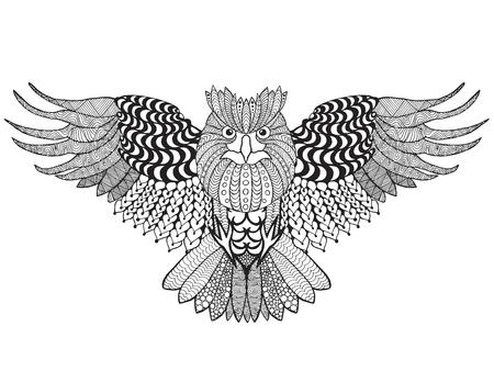 eagle owl: Eagle owl. Adult antistress coloring page.