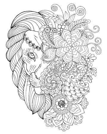 Leone. Mano nera bianco disegnato animale doodle. Etnica illustrazione vettoriale fantasia. Africano, indiano, totem, tribale, disegno. Bozzetto per colorare, tatuaggio, poster, stampa, t-shirt